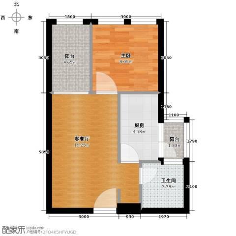 羲城蓝湾1室1厅1卫1厨43.16㎡户型图
