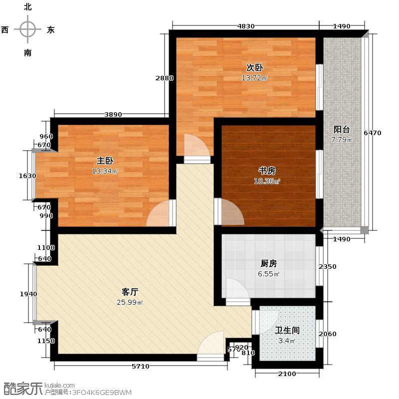 三泰茗居108.33㎡L户型3室1厅1卫