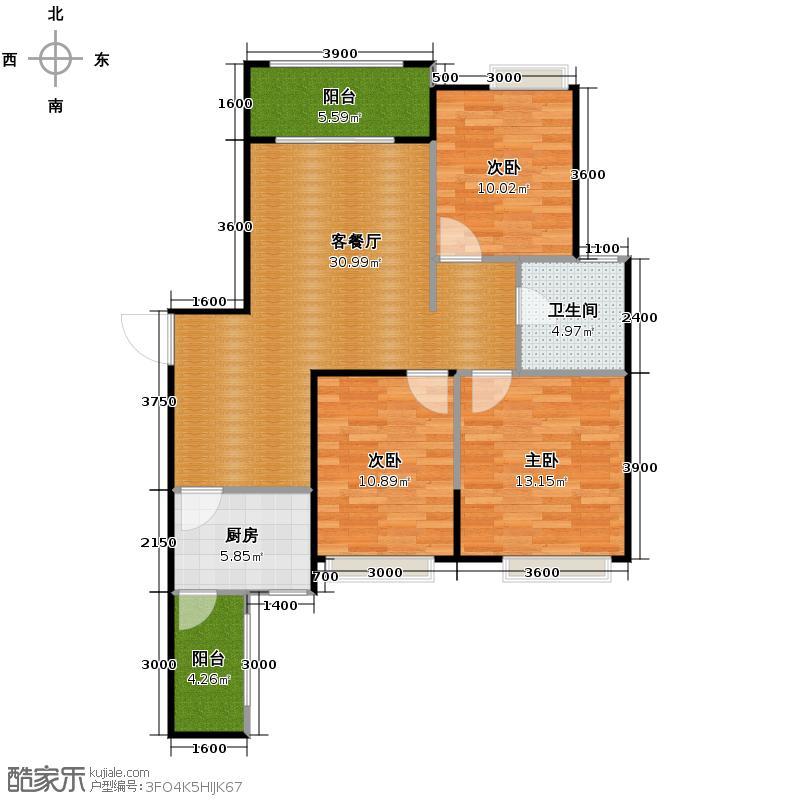 绿地世纪城107.00㎡2011年首次开盘B2户型3室1厅1卫1厨