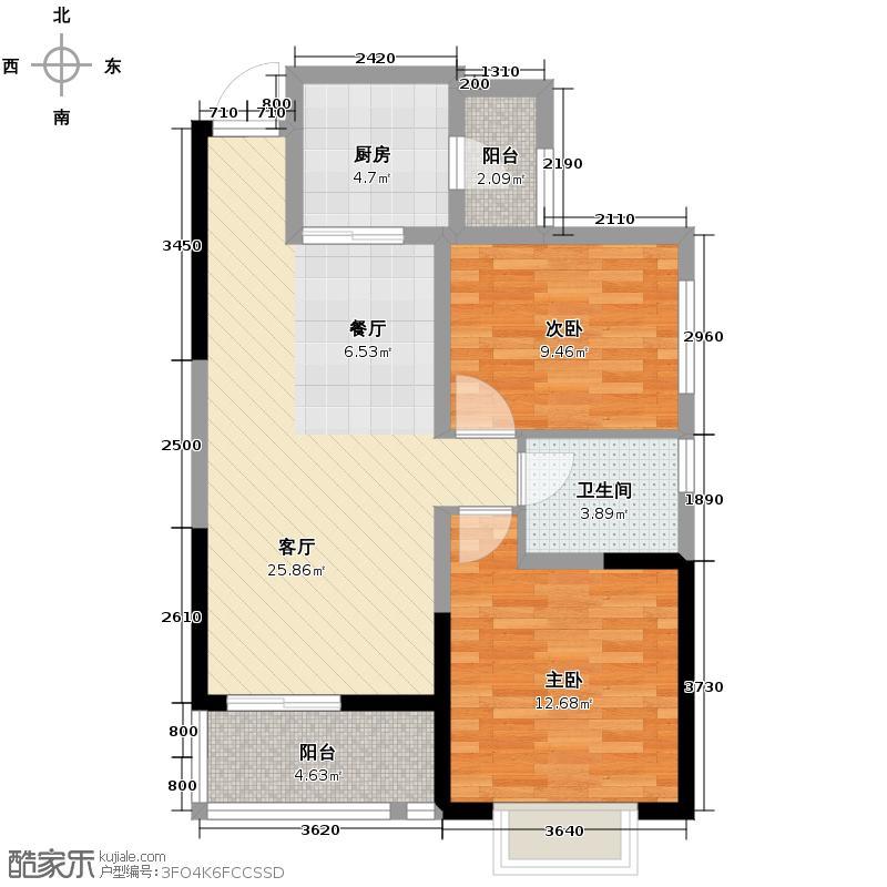 御锦城83.00㎡9、11号楼A1户型2室2厅1卫