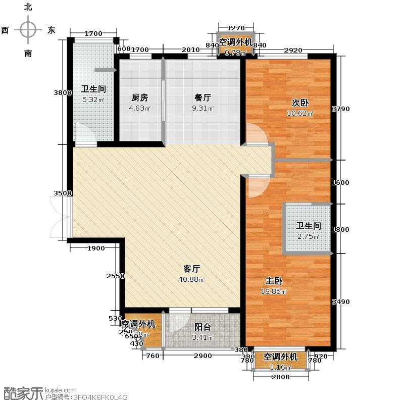 百合尚城111.03㎡B2面积为户型2室1厅2卫1厨
