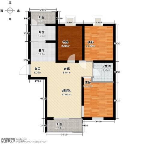 弘达明尚3室2厅1卫0厨122.00㎡户型图