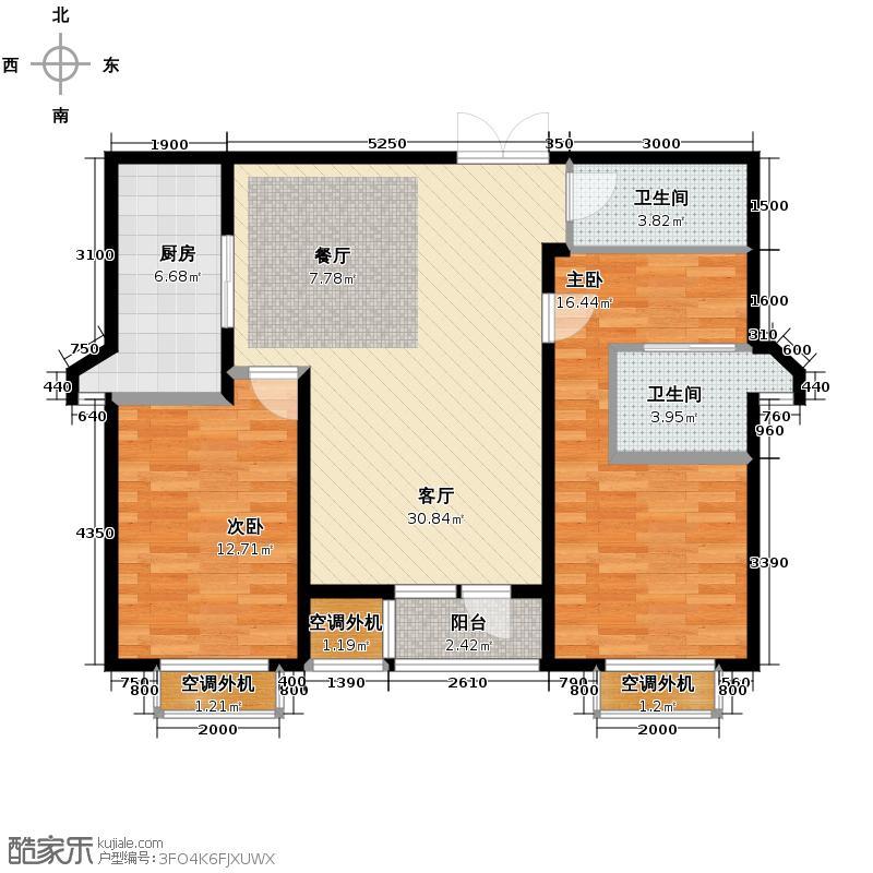 百合尚城108.35㎡B3面积为10835户型2室1厅2卫1厨