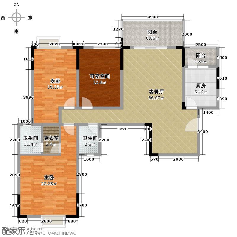 龙城128.00㎡一期5栋B1户型2室1厅2卫1厨