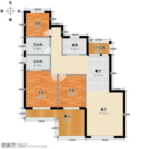 富兴御园3室2厅2卫0厨124.00㎡户型图