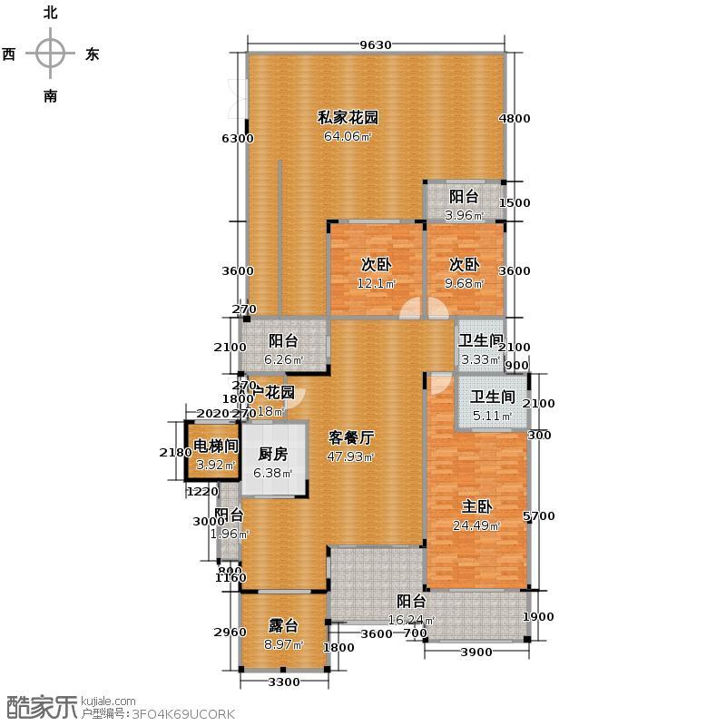 蓝溪谷地127.19㎡图为2FB户型3室1厅2卫1厨