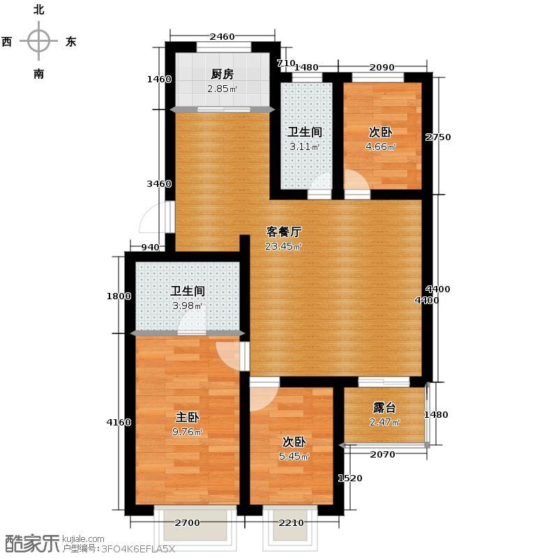 大盛魁文创园二期110.00㎡北区7#户型3室2厅2卫