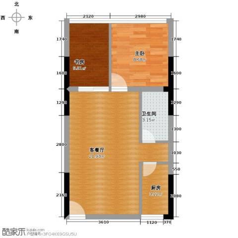 长帆江岸公馆2室1厅1卫1厨43.00㎡户型图