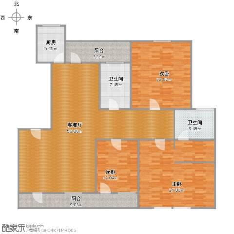 春江花月3室2厅2卫1厨206.00㎡户型图