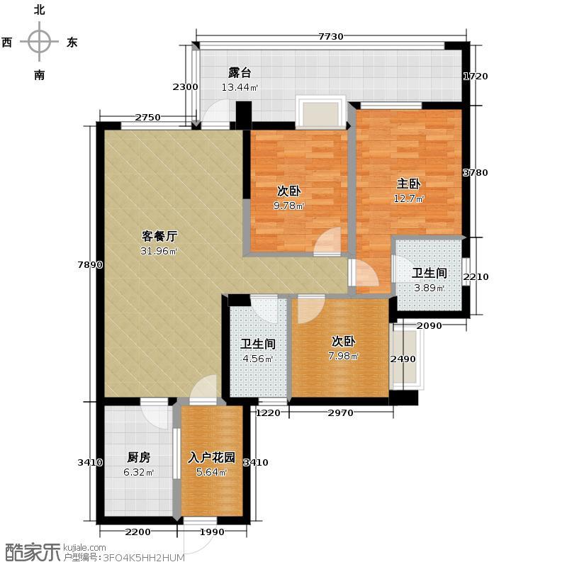 公元西108.00㎡D户型3室1厅2卫1厨