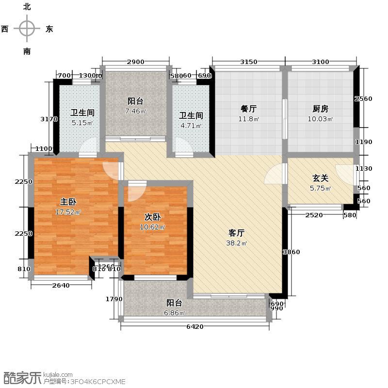 中海万锦东苑122.41㎡怡景洋房18栋01单位户型2室1厅2卫1厨