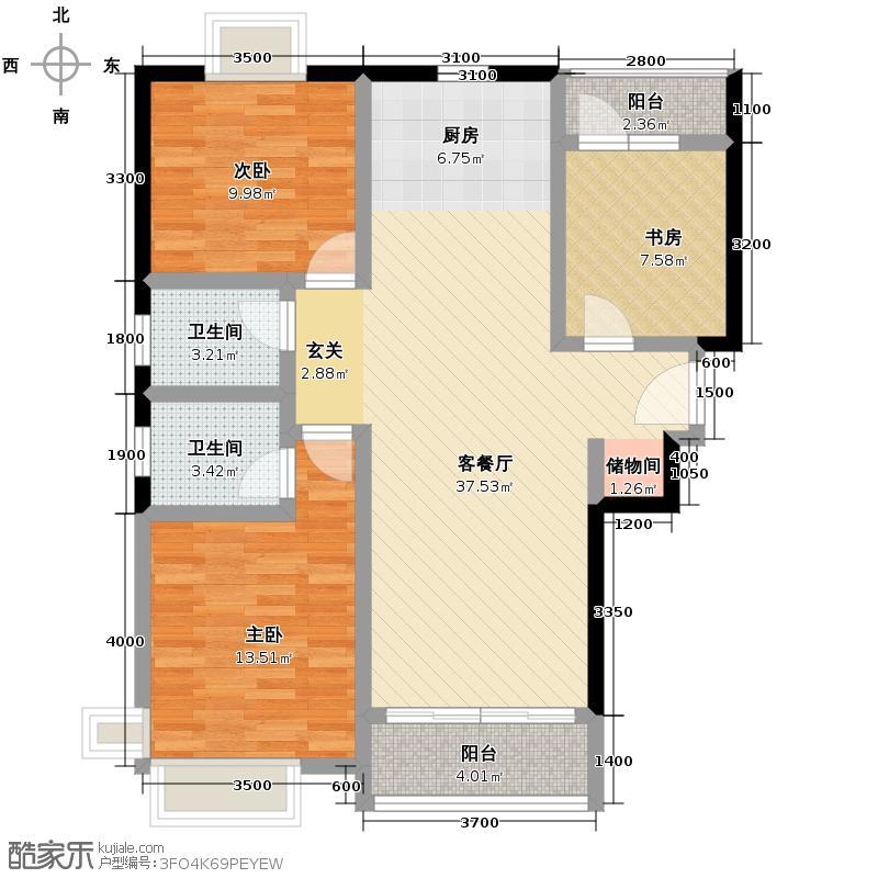 保利百合花园94.54㎡13#楼A户型3室1厅2卫