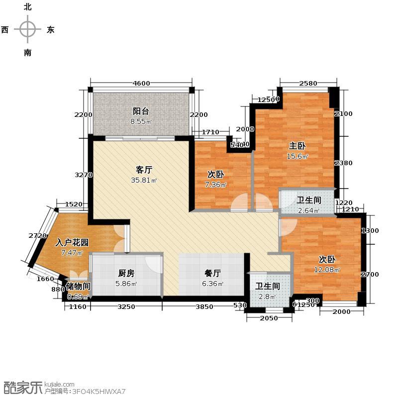华置西锦城111.93㎡2011年在售-1期C--双卫户型3室2厅2卫