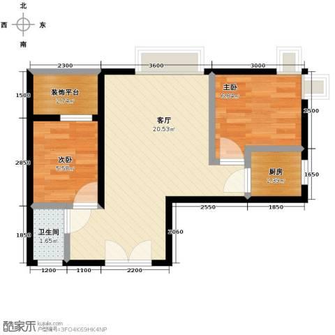红星美凯城2室2厅1卫0厨46.19㎡户型图