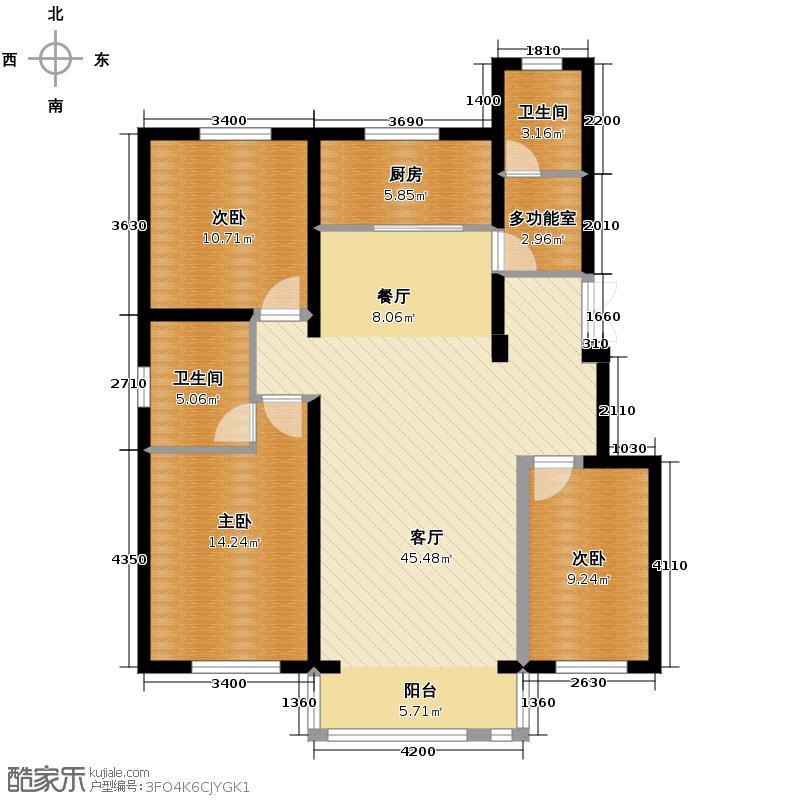 纳帕名门125.16㎡多层D4户型3室2厅2卫