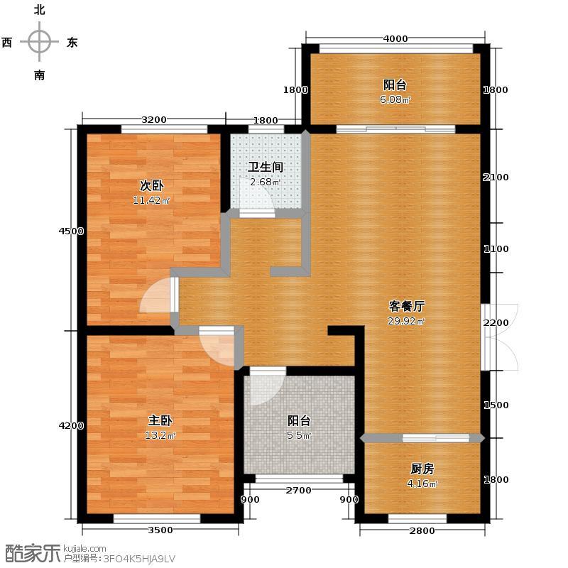 芒果天地88.39㎡F-1户型2室2厅1卫