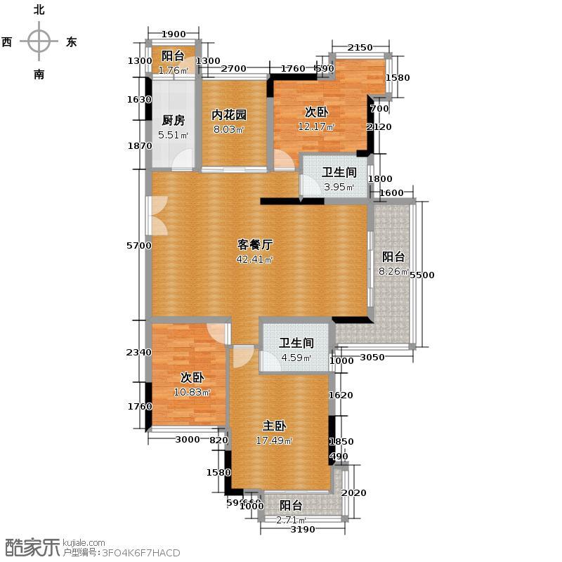 长城世家二期133.93㎡28#02单位户型3室1厅2卫1厨
