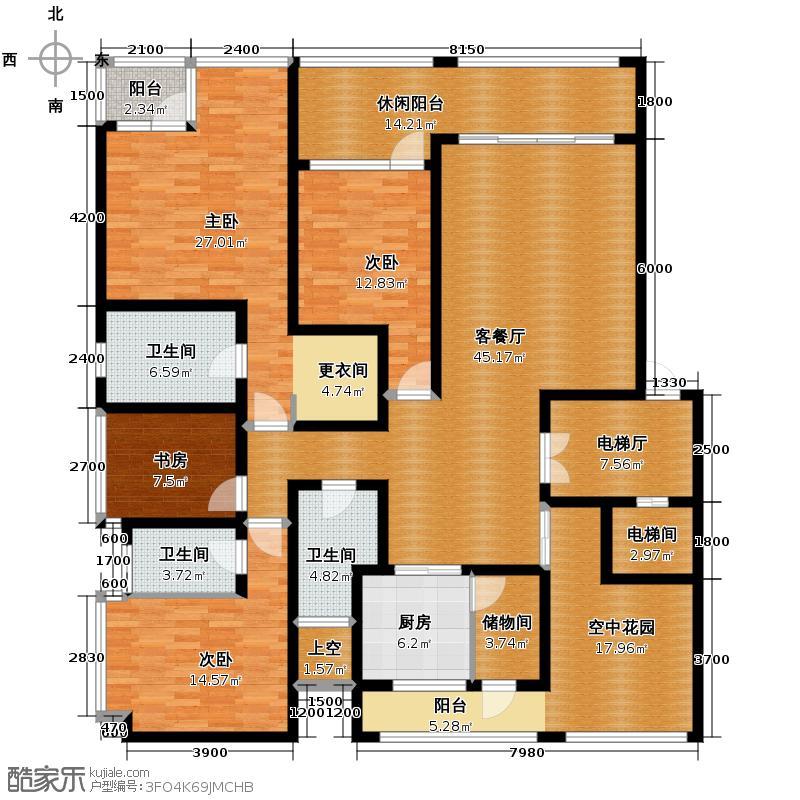 国奥村170.00㎡F型3阳台户型10室