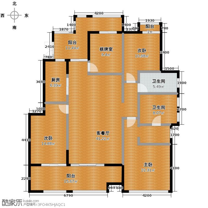 金科公园王府大户人家145.49㎡洋房A1幢标准层4F户型4室2厅2卫