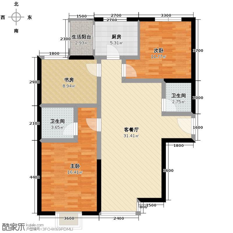星河18595.55㎡名家香颂户型3室1厅2卫1厨