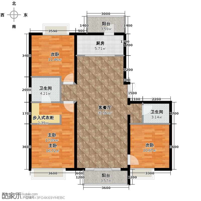 富民河畔家园136.46㎡标准层E户型3室2厅2卫