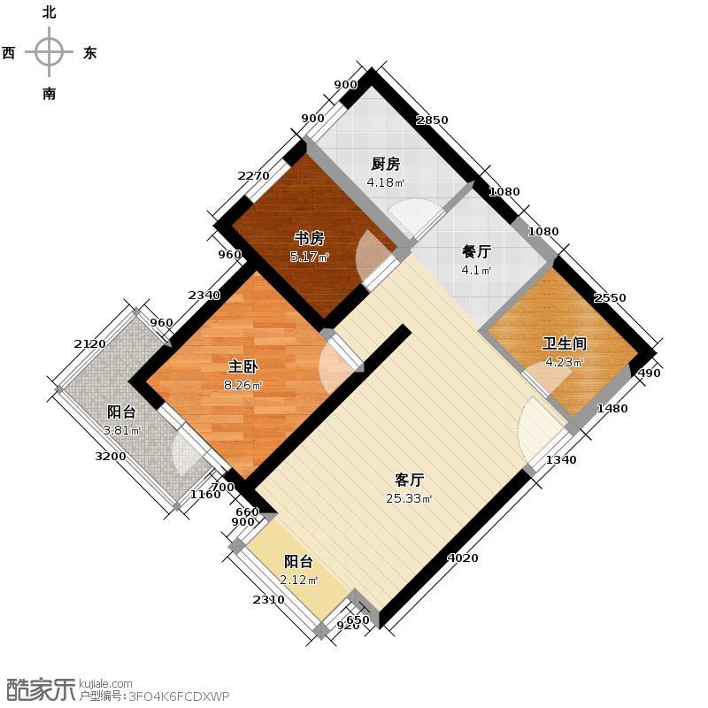欧逸水岸76.30㎡图为D-B户型2室1厅1卫1厨