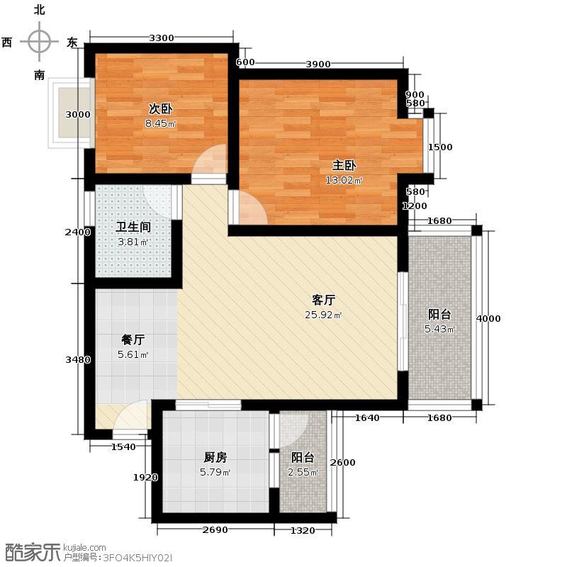 杜鹃城80.15㎡二期F2标准层户型10室