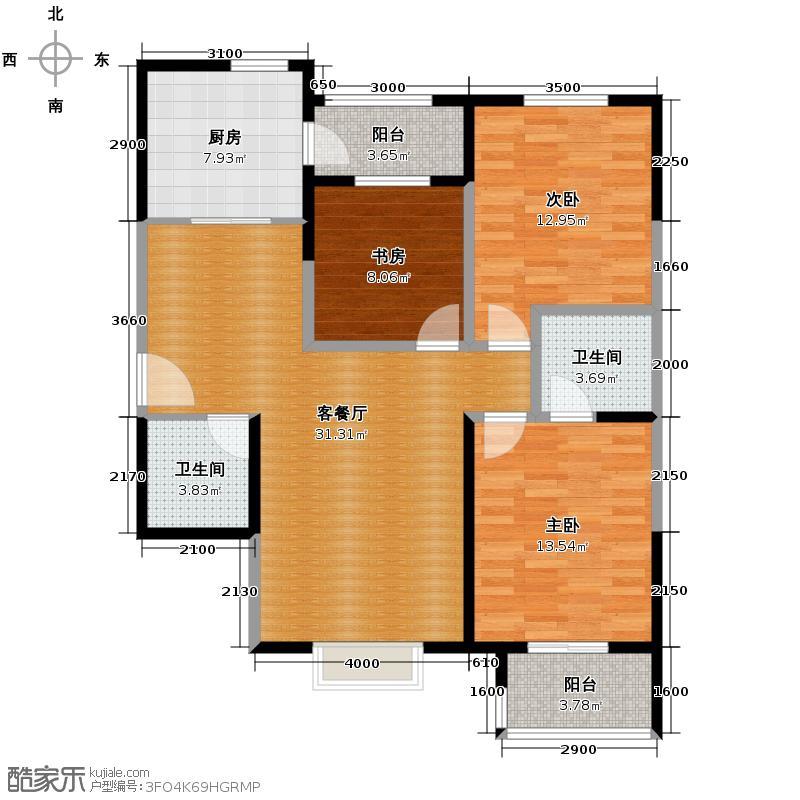 天朗蓝湖树122.00㎡户型3室2厅2卫