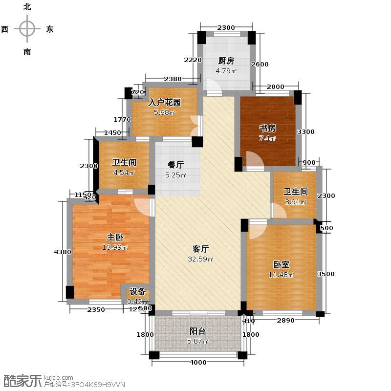 冠达豪景东苑118.00㎡E5户型3室2厅2卫