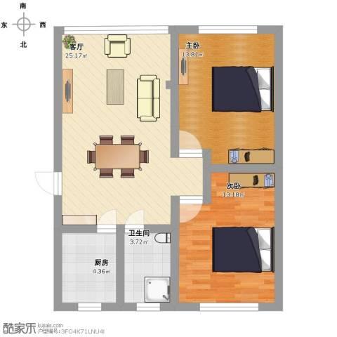 龙柏一村西郊公寓2室1厅1卫1厨88.00㎡户型图