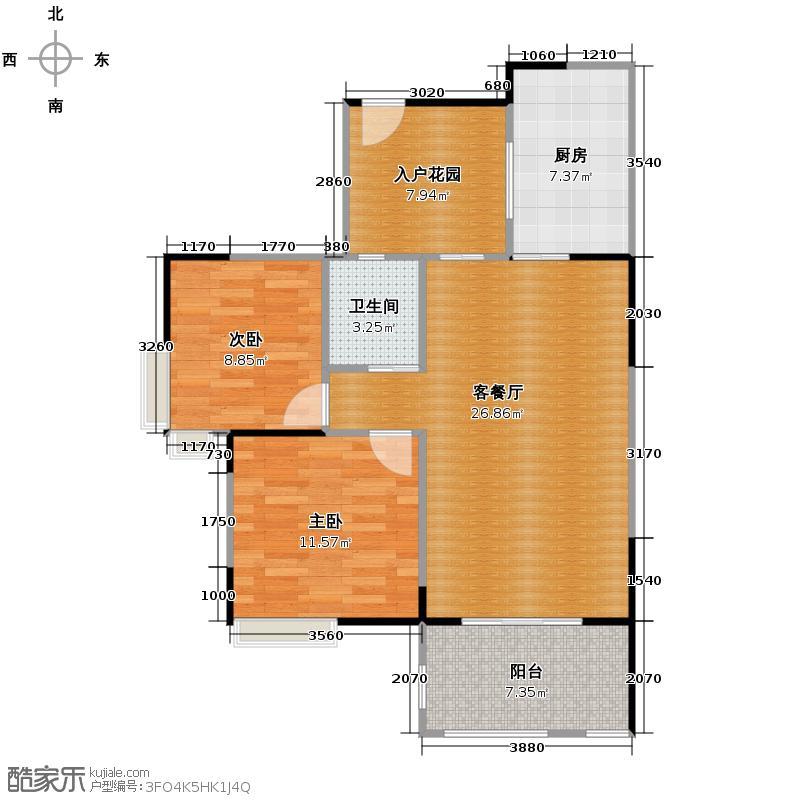 檀香花园89.00㎡5号楼A3户型2室1厅1卫1厨