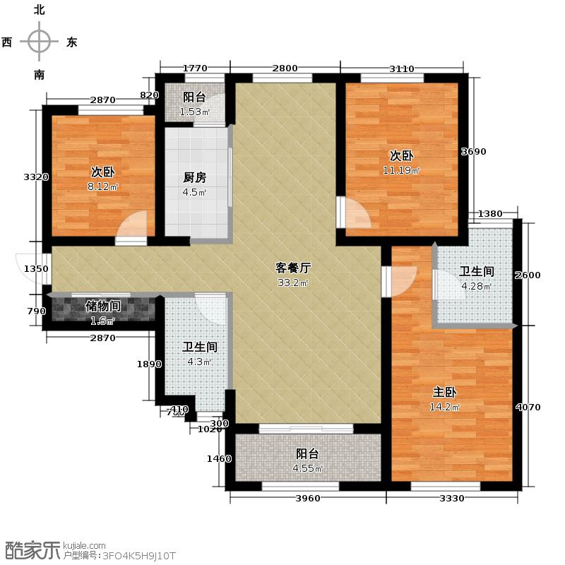上置绿洲雅宾利花园92.50㎡A套二变套三户型3室2厅2卫