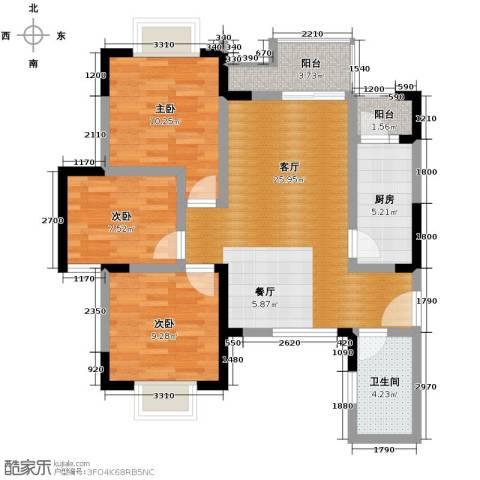 中建康城3室1厅1卫1厨87.00㎡户型图