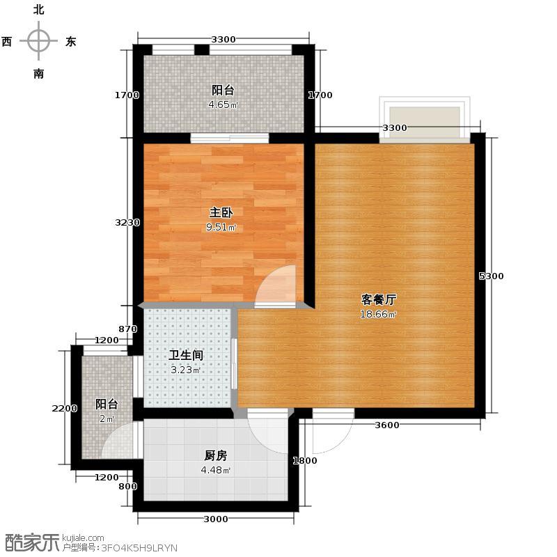 尚信国际公馆52.00㎡C户型1室1厅1卫1厨