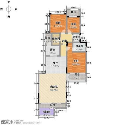 当代安普顿小镇3室2厅2卫0厨133.00㎡户型图