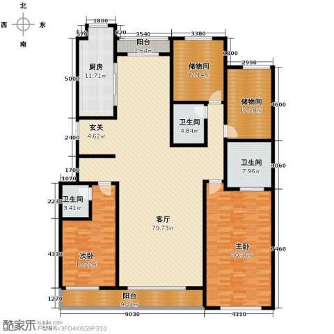 万科蓝山2室1厅3卫1厨191.70㎡户型图