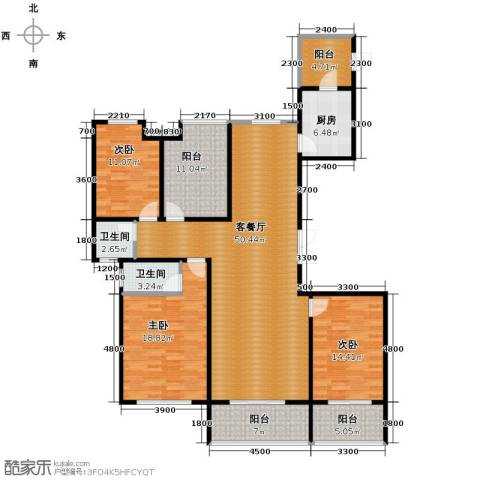 恒茂国际都会3室1厅2卫1厨170.00㎡户型图