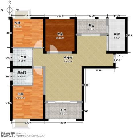 银诚东方国际3室2厅2卫0厨107.00㎡户型图
