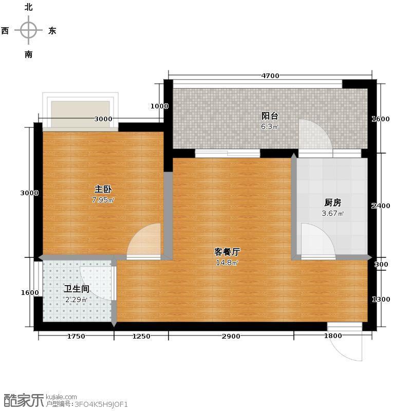 融汇温泉城36.20㎡上筑8号楼户型1室1厅1卫1厨