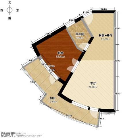 山海同湾1室1厅1卫0厨63.00㎡户型图