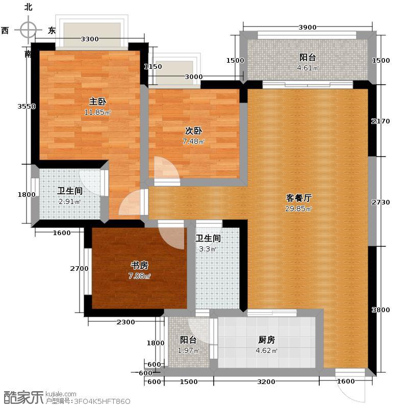 金科廊桥水乡102.69㎡天都小公馆C4带可变空间层高29米户型3室1厅2卫1厨