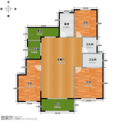 富兴御园3室2厅2卫0厨135.00㎡户型图