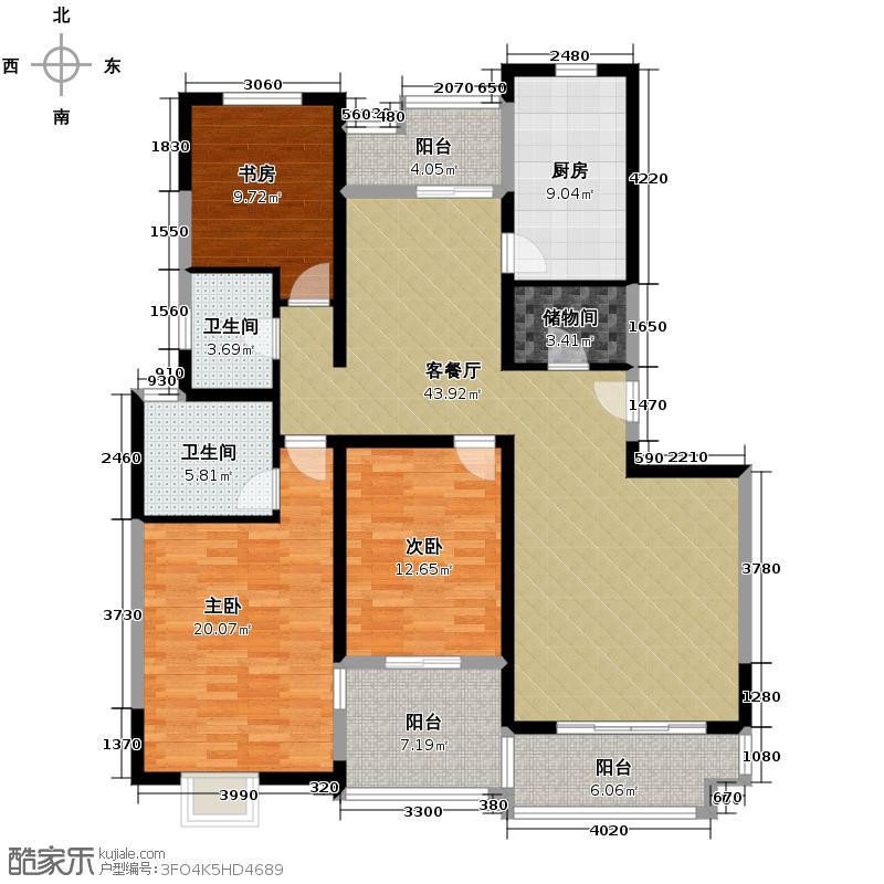 高科尚都163.00㎡8号楼户型3室2厅2卫