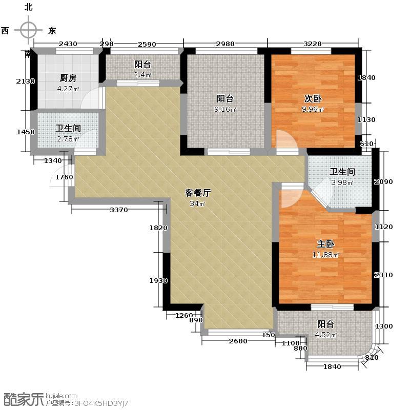 融侨城108.63㎡户型2室2厅2卫
