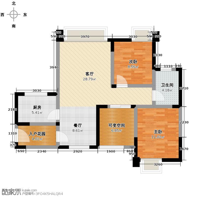 瑞升望江橡树林80.34㎡二期2栋B4户型2室2厅1卫