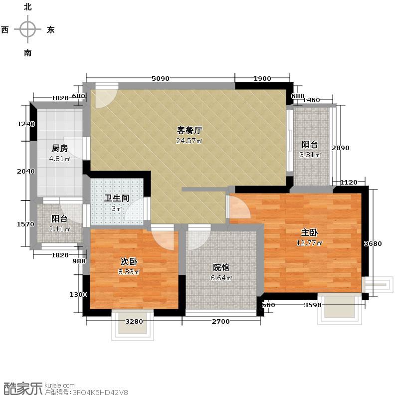 东原亲亲里78.80㎡爱巢3号房户型2室1厅1卫1厨
