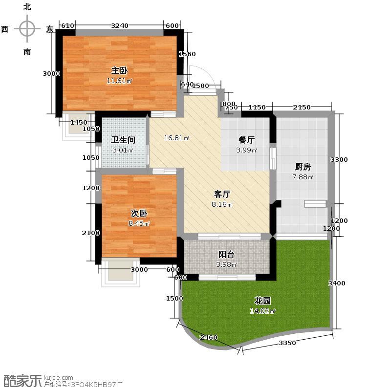 首创万卷山78.00㎡一期1栋4b型单卫户型2室2厅1卫