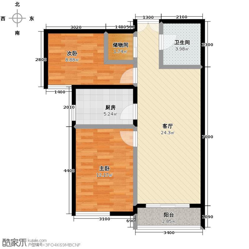 富民河畔家园85.19㎡标准层D户型2室2厅1卫