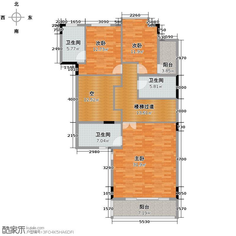 富力城124.70㎡A12-17栋1单元六室户型10室