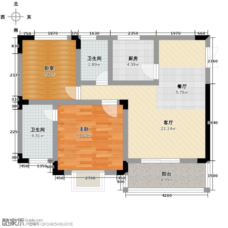 逸品森香66.59㎡B型双卫户型2室2厅2卫